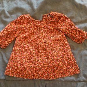Brown flowers real corduroy baby girl dress